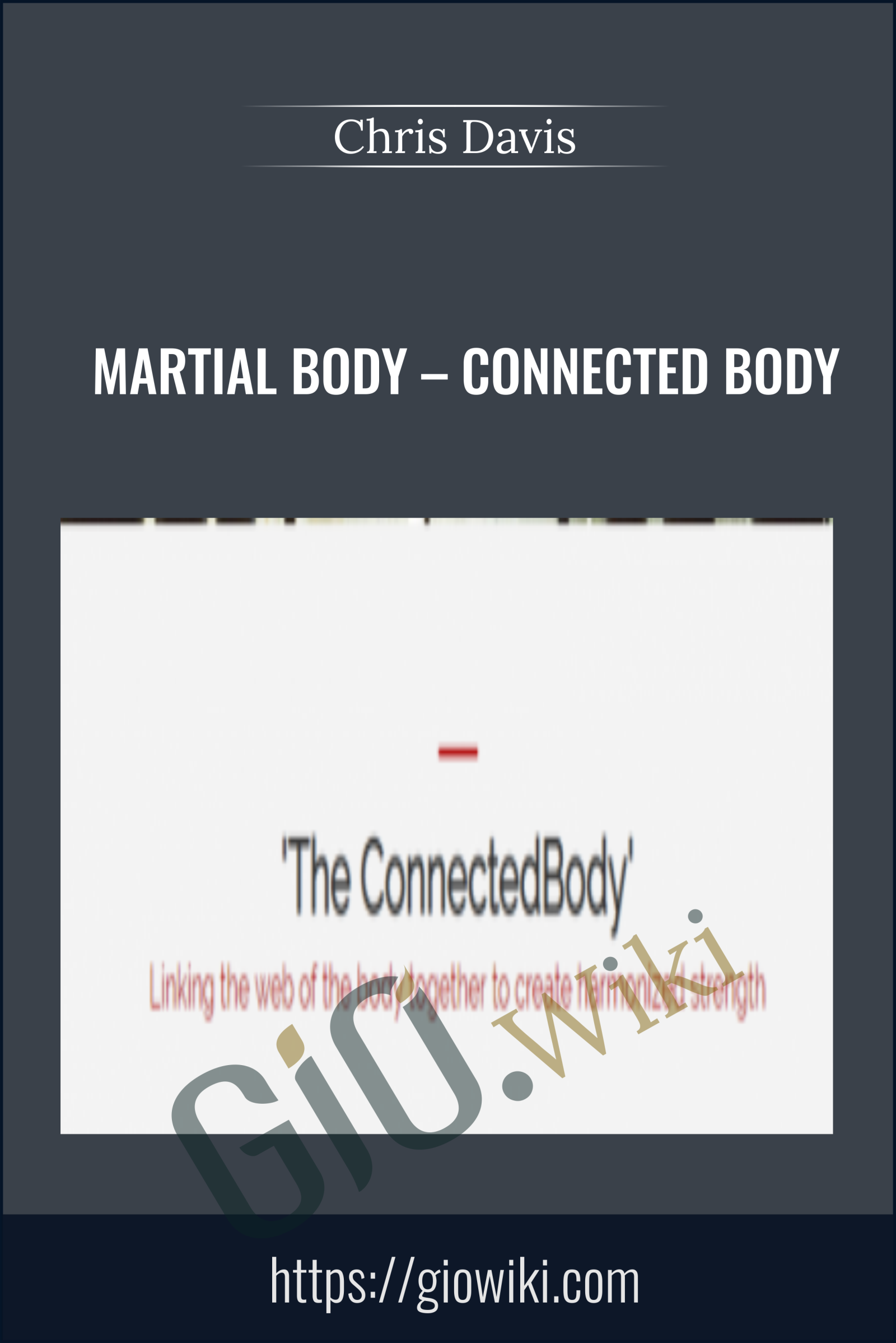 Martial Body – Connected Body - Chris Davis
